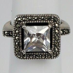 Vtg Judith Jack Sterling Silver CZ Marcasite Ring